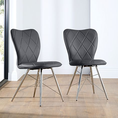 Lucca Grey Leather Dining Chair Chrome Leg