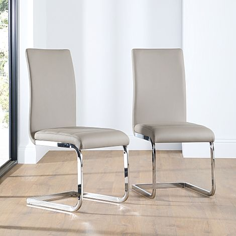 Perth Taupe Leather Dining Chair Chrome Leg