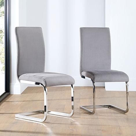 Perth Grey Velvet Dining Chair Chrome Leg