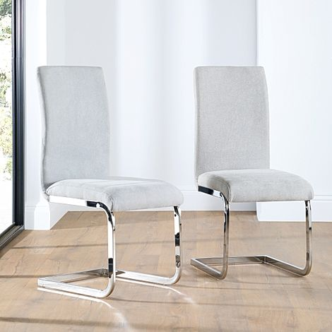 Perth Dove Grey Fabric Dining Chair Chrome Leg