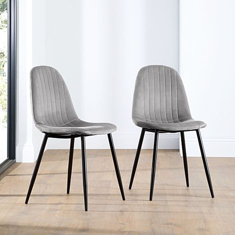 Brooklyn Grey Velvet Dining Chair Black Leg