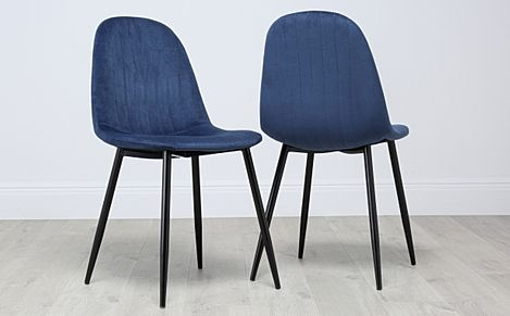 Brooklyn Velvet Dining Chair - Blue (Black Leg)