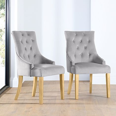 Duke Grey Velvet Button Back Dining Chair Oak Leg
