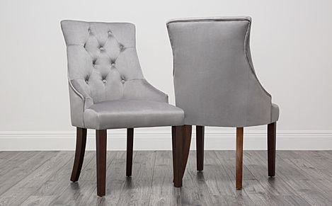 Duke Grey Velvet Button Back Dining Chair Dark Leg