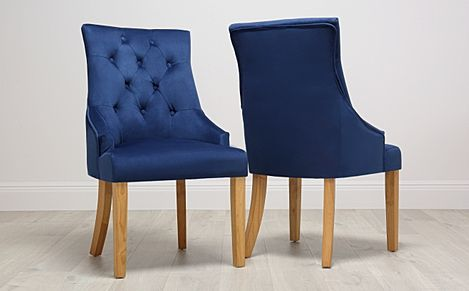 Duke Blue Velvet Button Back Dining Chair Oak Leg