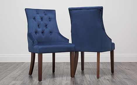 Duke Velvet Button Back Dining Chair Blue (Dark Leg)