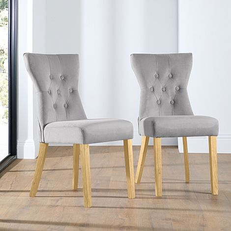 Bewley Grey Velvet Button Back Dining Chair (Oak Leg)