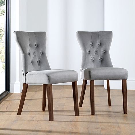 Bewley Grey Velvet Button Back Dining Chair Dark Leg