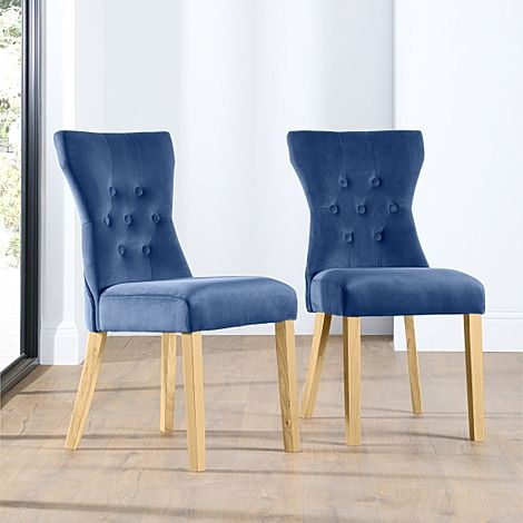 Bewley Velvet Button Back Dining Chair Blue (Oak Leg)