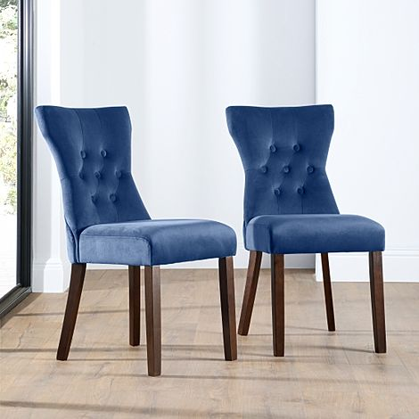 Bewley Blue Velvet Button Back Dining Chair Dark Leg