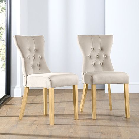Bewley Mink Velvet Button Back Dining Chair (Oak Leg)
