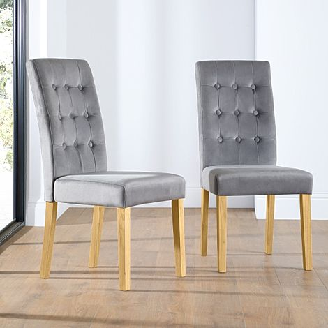 Regent Grey Velvet Button Back Dining Chair Oak Leg