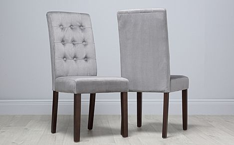 Regent Velvet Button Back Dining Chair Grey (Dark Leg)
