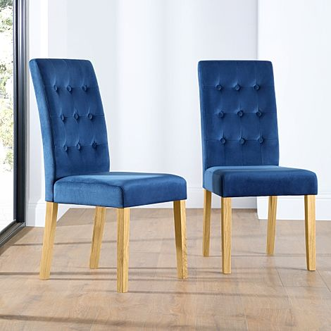 Regent Blue Velvet Button Back Dining Chair Oak Leg