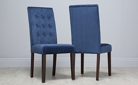 Regent Velvet Button Back Dining Chair Blue (Dark Leg)