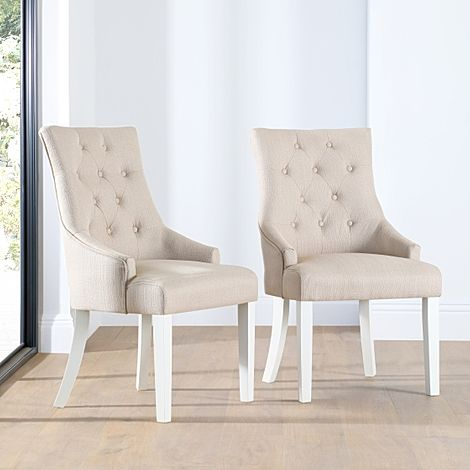 Duke Oatmeal Fabric Button Back Dining Chair (White Leg)