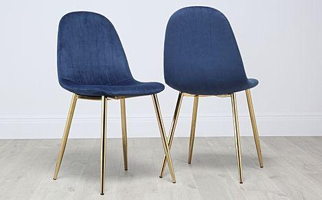 Brooklyn Velvet Dining Chair - Blue (Gold Leg)