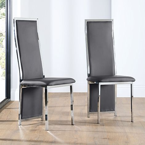 Celeste Grey Leather and Chrome Dining Chair