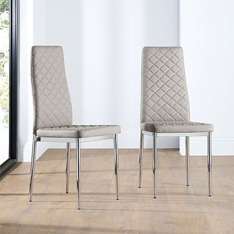Renzo Leather Dining Chair Taupe (Chrome Leg)