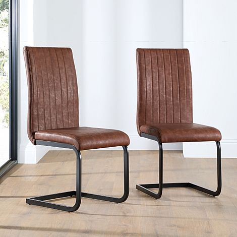 Perth Tan Leather Dining Chair (Black Leg)