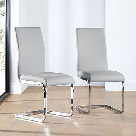 Perth Light Grey Leather Dining Chair Chrome Leg