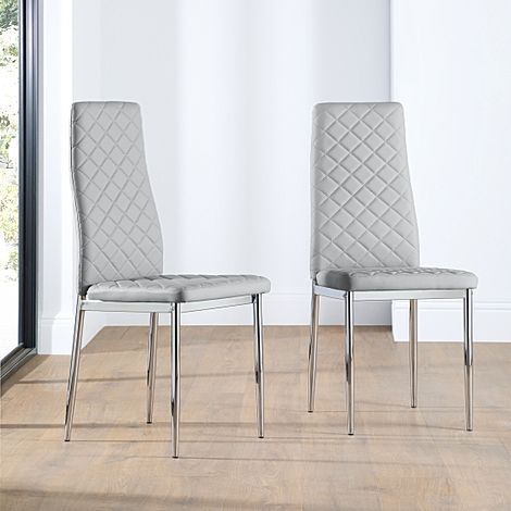 Renzo Light Grey Leather Dining Chair Chrome Leg