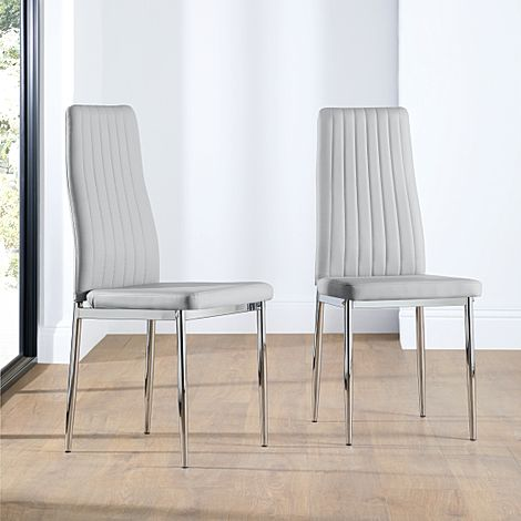 Leon Light Grey Leather Dining Chair Chrome Leg