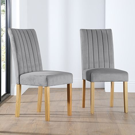 Salisbury Velvet Dining Chair Grey (Oak Legs)