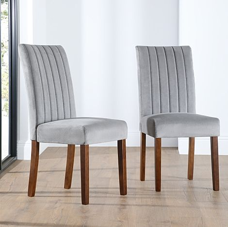 Salisbury Velvet Dining Chair Grey (Walnut Legs)