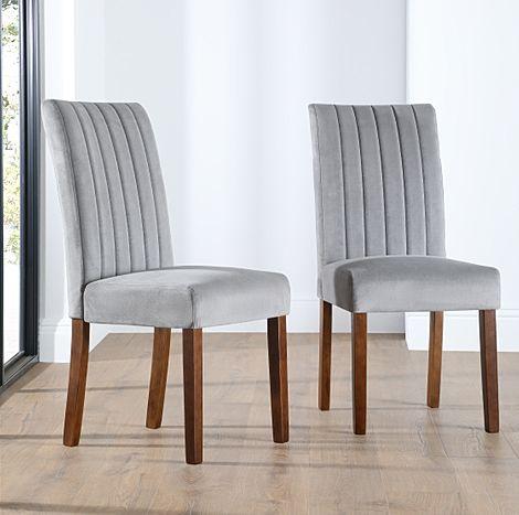 Salisbury Grey Velvet Dining Chair Dark Leg