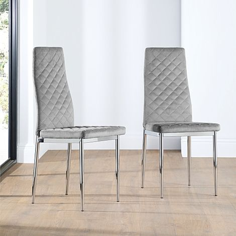 Renzo Grey Velvet Dining Chair Chrome Leg