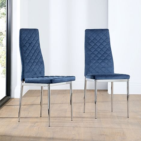 Renzo Blue Velvet Dining Chair (Chrome Leg)