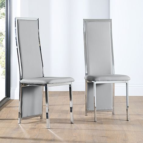 Celeste Light Grey Leather and Chrome Dining Chair