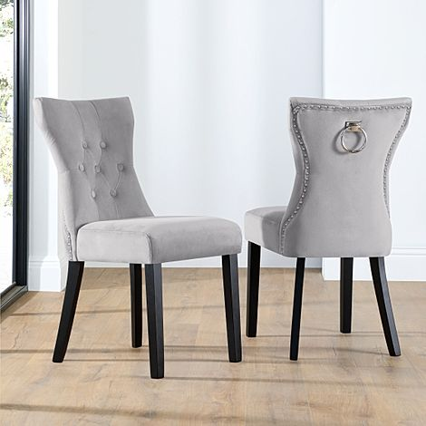 Kensington Grey Velvet Button Back Dining Chair (Black Leg)