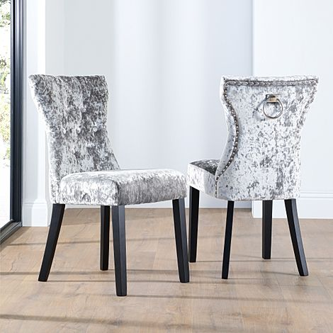 Kensington Silver Velvet Button Back Dining Chair (Black Leg)