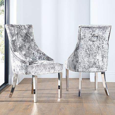 Imperial Silver Velvet Button Back Dining Chair (Chrome Leg)