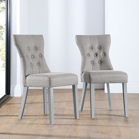 Bewley Light Grey Fabric Button Back Dining Chair (Grey Leg)