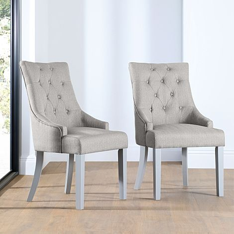 Duke Light Grey Fabric Button Back Dining Chair (Grey Leg)