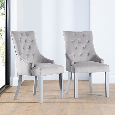 Duke Grey Velvet Button Back Dining Chair (Grey Leg)