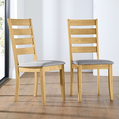 Grove Oak Dining Chair (Grey Fabric Seat Pad)