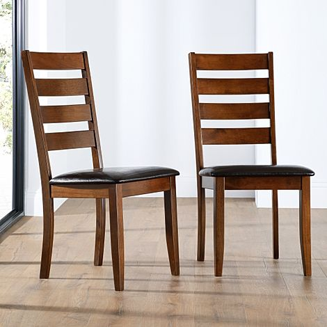 Grove Dark Wood Dining Chair (Brown Leather Seat Pad)