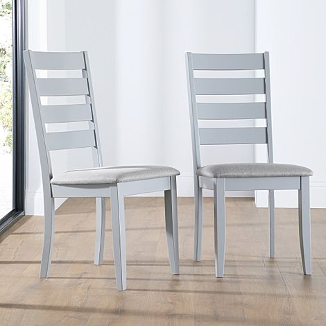 Grove Painted Grey Dining Chair (Grey Fabric Seat Pad)