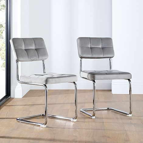 Carter Grey Velvet Dining Chair (Chrome Leg)
