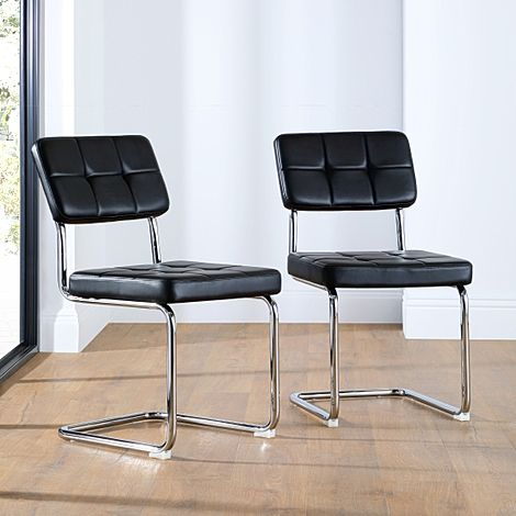 Carter Black Leather Dining Chair (Chrome Leg)