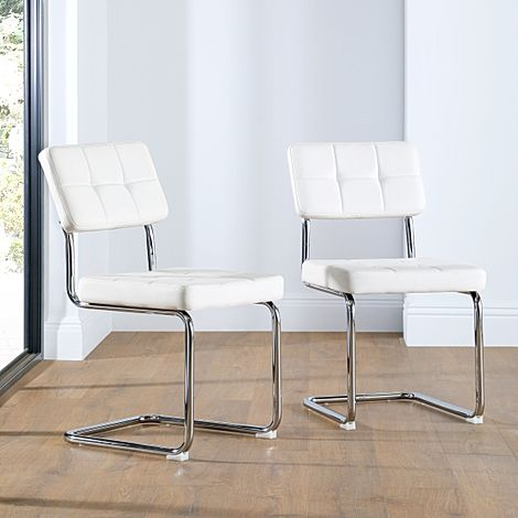 Carter White Leather Dining Chair (Chrome Leg)