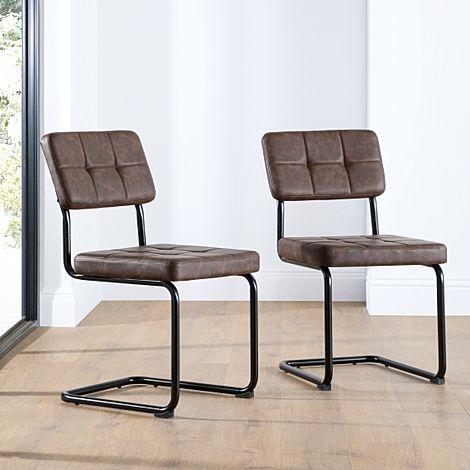Carter Vintage Brown Leather Dining Chair (Black Leg)