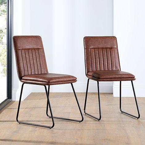Flint Tan Leather Dining Chair (Black Leg)