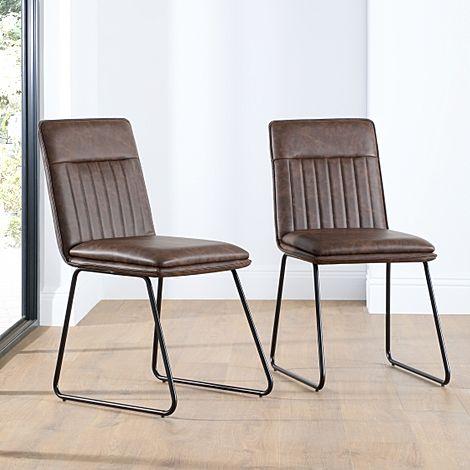 Flint Vintage Brown Leather Dining Chair (Black Leg)