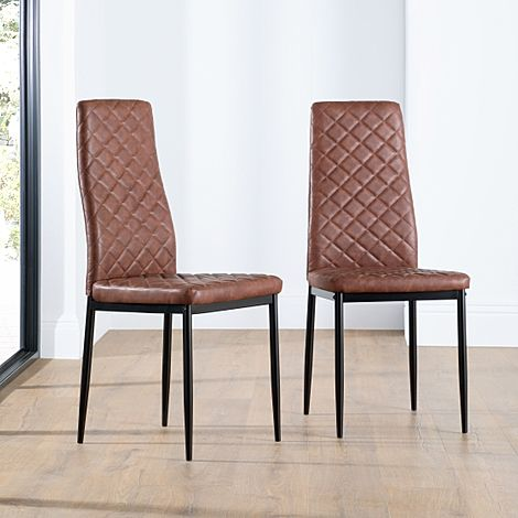 Renzo Tan Leather Dining Chair (Black Leg)