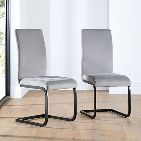 Perth Grey Velvet Dining Chair (Black Leg)